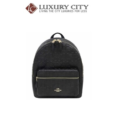 [Luxury City] Coach Medium Charlie Backpack In Signature Leather Black Coach-F49498