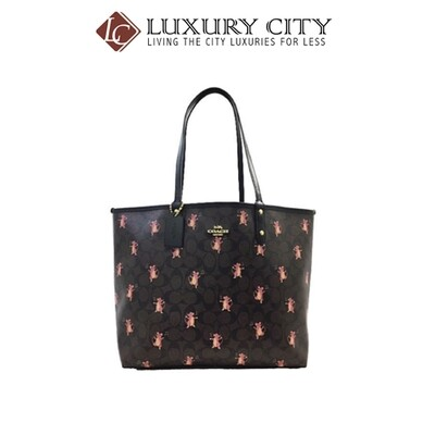 [Luxury City] Coach Reversible City Tote In Signature Canvas With Party Mouse Print Brown/Mahogany Coach-F80231