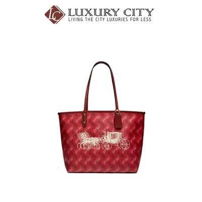 [Luxury City] Coach Hallie Shoulder Bag In Signature Canvas Red Coach-F80298