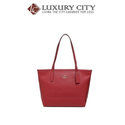 [Luxury City] Coach Zip Top Tote Red Coach-F83857