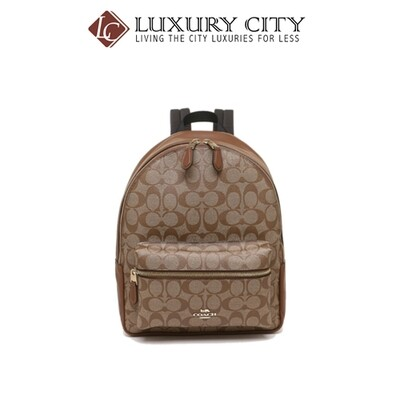 [Luxury City] Coach Medium Charlie Backpack In Signature Canvas Brown Coach-F32200