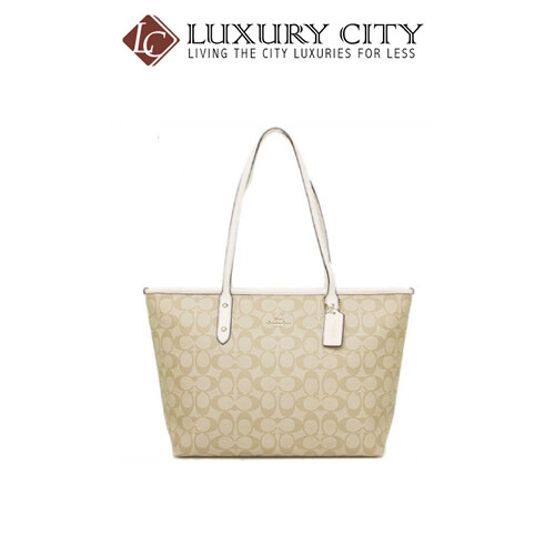 [Luxury City] Coach City Zip Tote In Signature Coated Canvas Coach-F58292 (White)