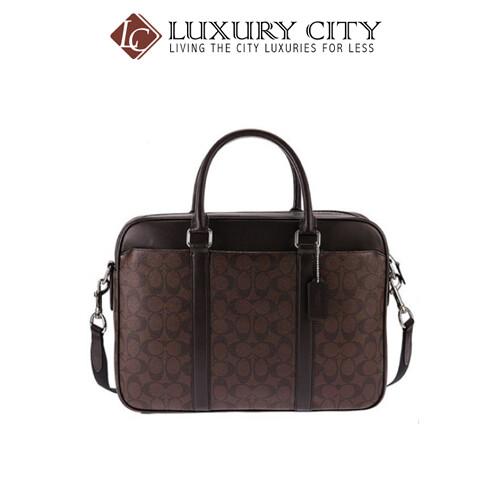 [Luxury City] Coach Perry Slim Brief In Signature Coach-F54803 (Brown/Mahogany)