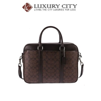 [Luxury City] Coach Perry Slim Brief In Signature Coach-F54803 (Brown/Mahogany)