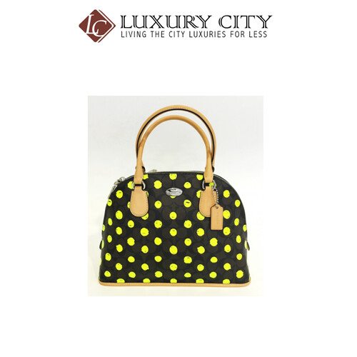 [Luxury City] Coach Domed Satchel In Dot Print Crossgrain Leather