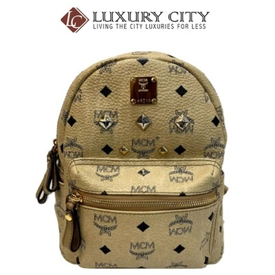 [Luxury City] Preloved Authentic Mcm Studded Mini Backpack Beige
