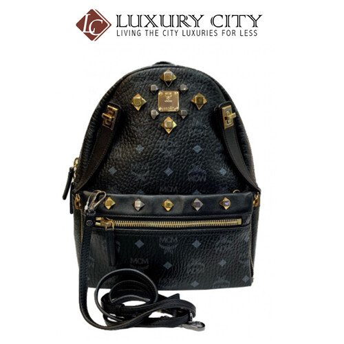 [Luxury City] Preloved Authentic Mcm Black Studded Backpack