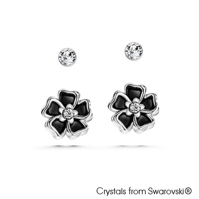 Solitaire and Floral Earrings
