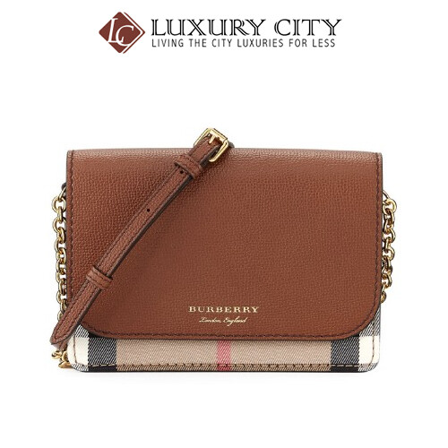 [Luxury City] Burberry Leather and House Check Wallet With Detachable Strap Brown Burberry-40681441