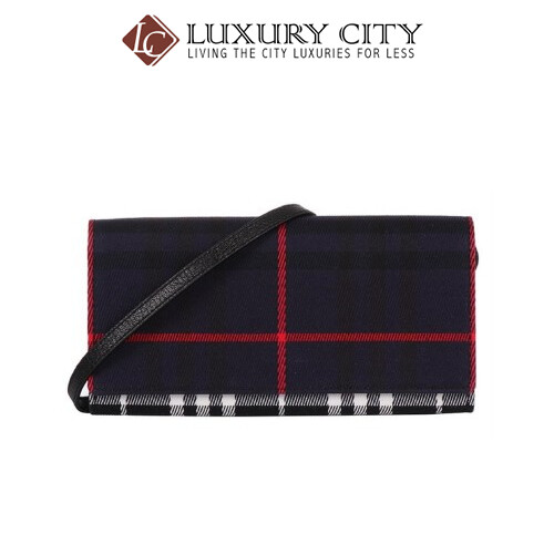 [Luxury City] Burberry Leather Trim Haymarket Check Wallet With Chain in Light Elderberry Burberry-40609781