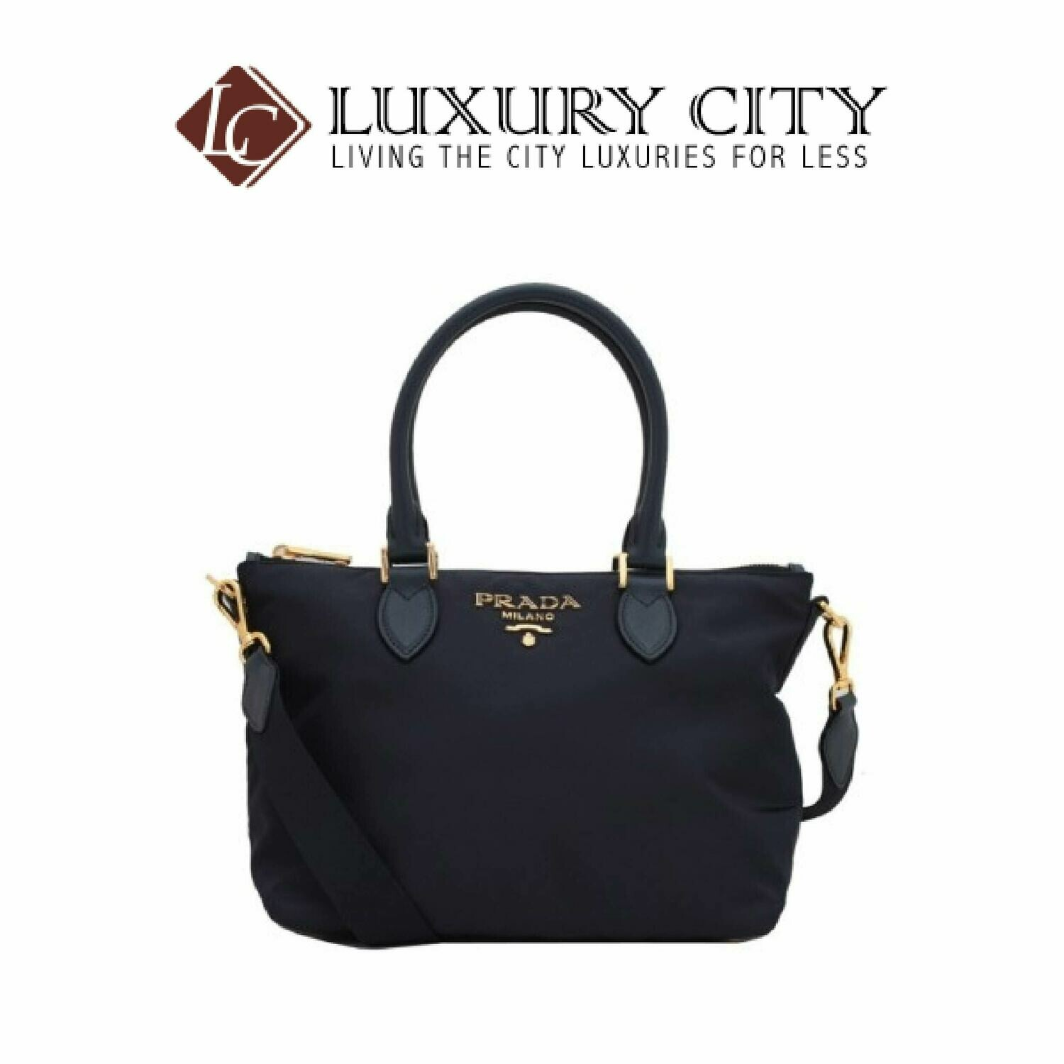 [Luxury City] Prada Tessuto Nylon & Saffiano Leather Satchel Bag Dark Blue Prada-1BA275