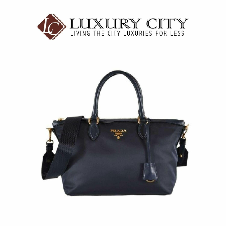 [Luxury City] Prada Borsa A Mano Nylon 2-Way Zip Purse Handbag Bag Blue Prada-1BA104
