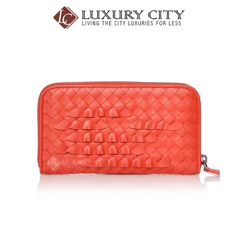 [Luxury City] Bottega Veneta Intrecciato Nappa Zip Around Wallet Coral