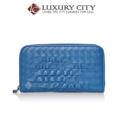 [Luxury City] Bottega Veneta Intrecciato Nappa Zip Around Wallet Blue