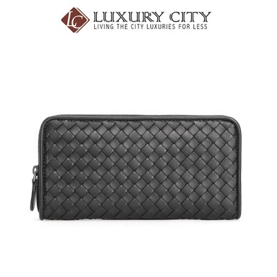 [Luxury City] Bottega Veneta Zip Around Wallet Black Bottega-506685