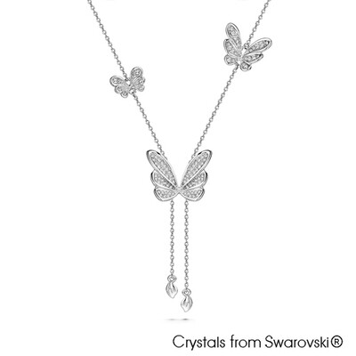 LUSH Butterfly Dance Pure Rhodium Plated Necklace