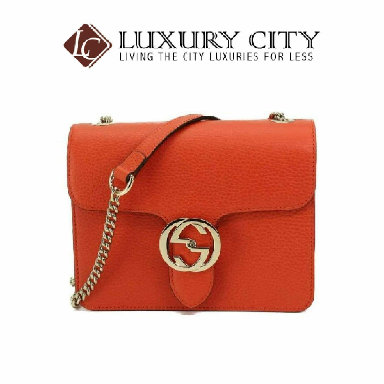 [Luxury City] Gucci Interlocking G Chain Shoulder Bag Leather Orange Gucci- 510304