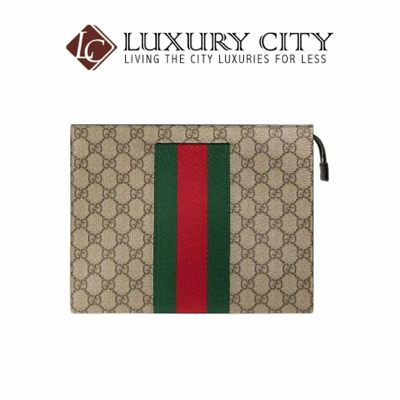 [Luxury City] Gucci GG Supreme Web Pouch Light Brown/Sand Gucci- 475316