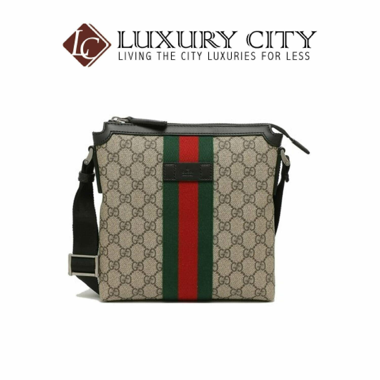 [Luxury City] Gucci Web GG Supreme Flat Messenger Light Brown/Sand Gucci- 471454