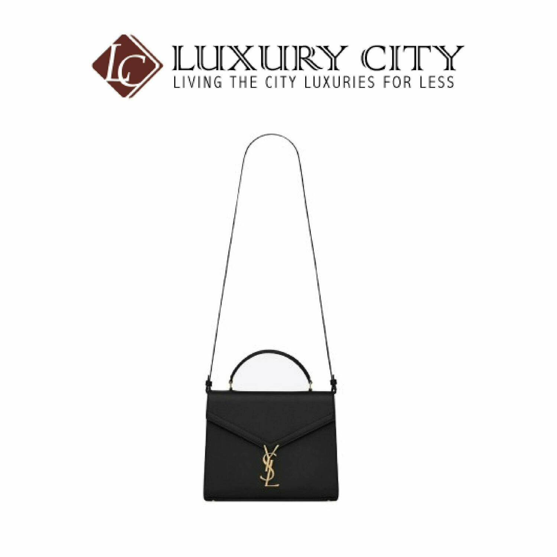 [Luxury City] Saint Laurent Cassandra Top Handle Medium Bag In Grain De Poudre Embossed Leather Black YSL- 578000
