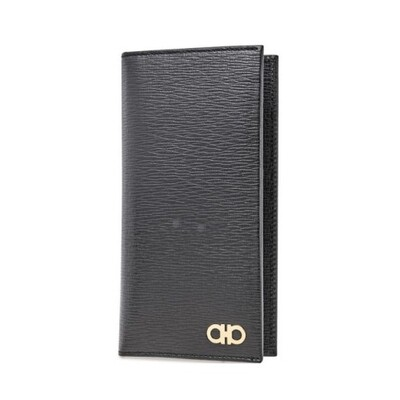[Luxury City] Ferragamo Gancini Organizer Wallet Black Ferragamo-66A071