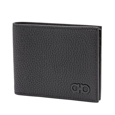 [Luxury City] Ferragamo Gancini Bifold International Wallet Black Ferragamo-66A072