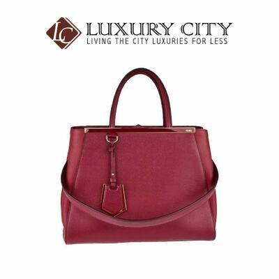 [Luxury City] Fendi Amarena Vitello Leather Medium 2Jours Elite Tote Bag Fendi- 8BH250