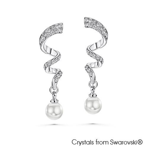 LUSH Graceful Swarovski Crystal Pearl Earrings