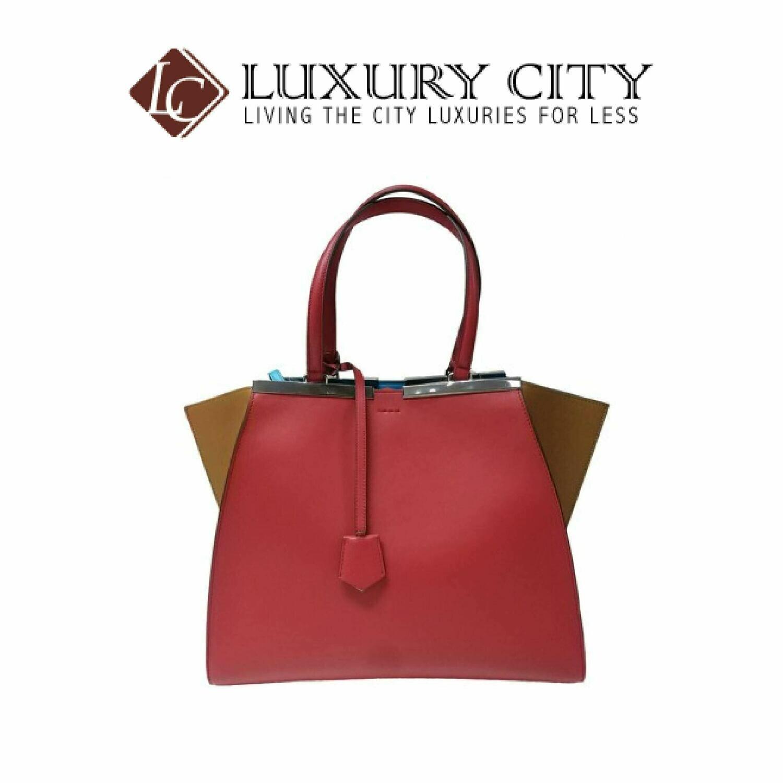 [Luxury City] Fendi Black/Plaster Leather Grande 3Jours Tote Bag 8BH280 - Red/Brown
