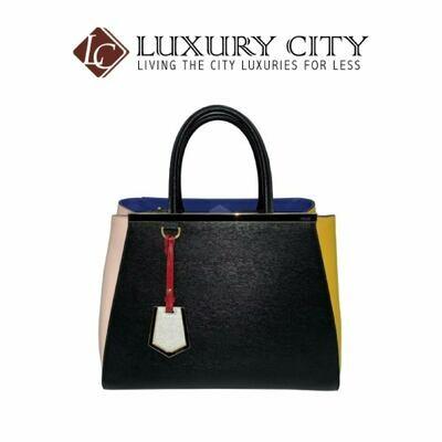 [Luxury City] Fendi Amarena Vitello Leather Medium 2Jours Elite Tote Bag Black Fendi-8BH250