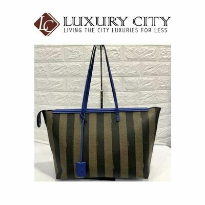 [Luxury City] Fendi Tobacco/Blue Pequin- Striped Roll Tote Blue Fendi- 8BH185