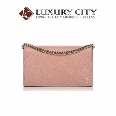 [Luxury City] Gucci Soft Pink Dollar Calf Pebbled Leather Wallet Chain Purse Handbag Gucci-493075