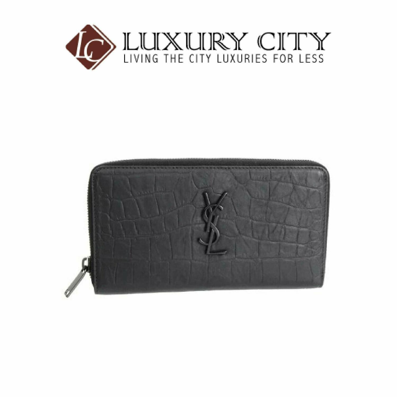[Luxury City] Saint Laurent Monogram Zip Wallet In Crocodile Embossed Leather YSL-529899