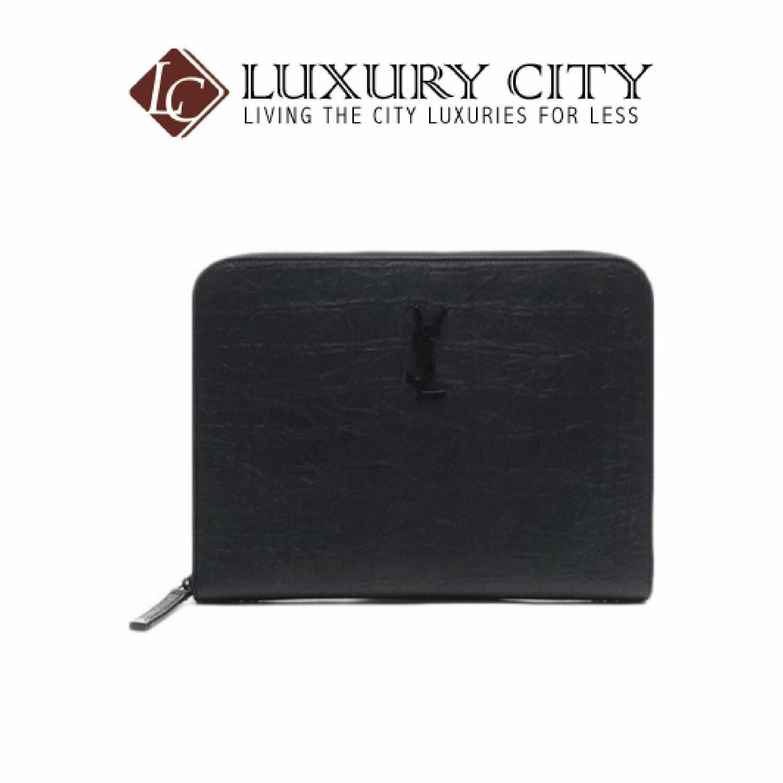 [Luxury City] Saint Laurent Monogram Tablet Holder In Crocodile Embossed Leather Black YSL-529862