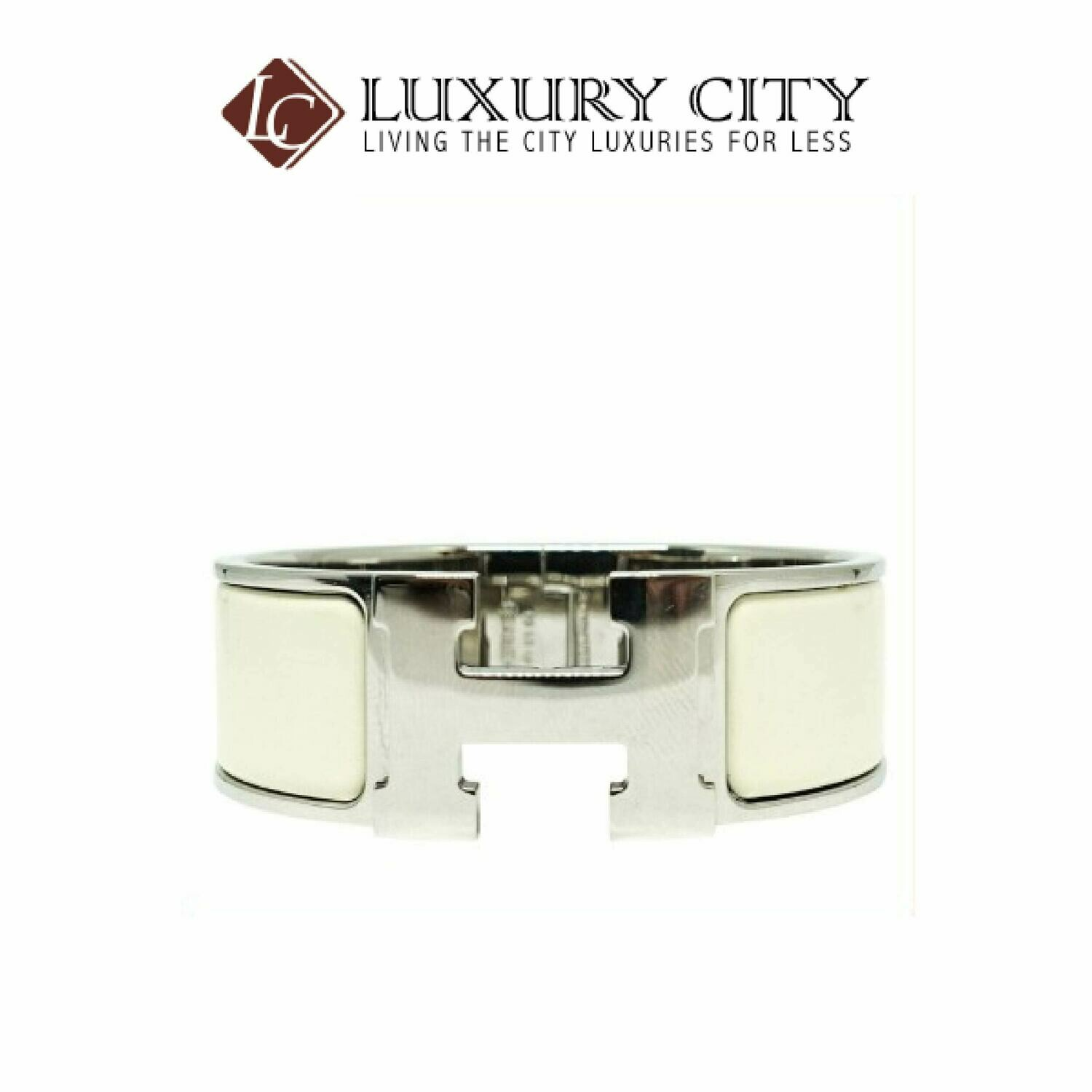 [Luxury City] Preloved Authentic Hermes White Chic Clac H Bracelet