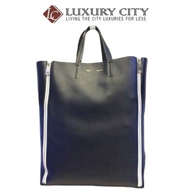 [Luxury City] Preloved Celine Black Leather Vertical Gusset Zip Cabas Tote Bag (Black)