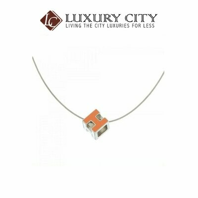 [Luxury City] Preloved Authentic Hermes Orange Enamel Cage D'H Pendant Necklace
