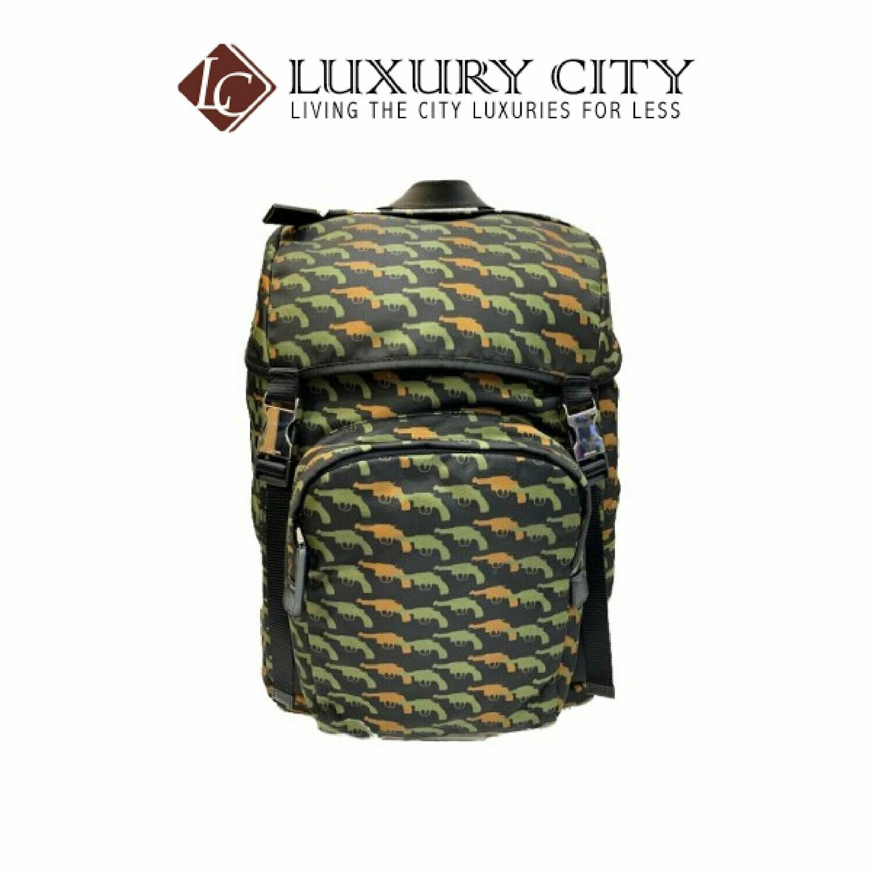 [Luxury City] Preloved Authentic Prada Gun Print Nylon Backpack