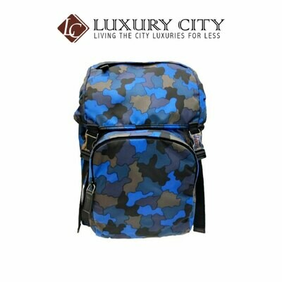 [Luxury City] Preloved Authentic Prada Camouflage Backpack Men Blue