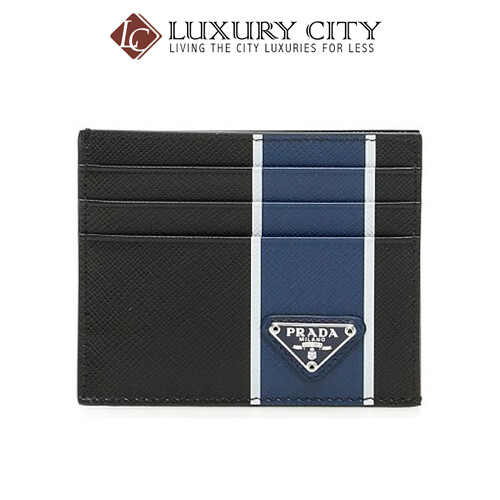 [Luxury City] Prada Saffiano Leather Card Holder Blue Prada-2MC223