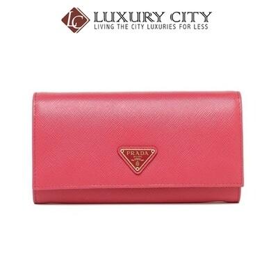 [Luxury City] Prada Saffiano Leather Long Fold Wallet Light Pink Prada-1MH132