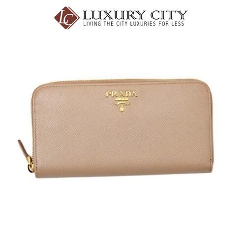 [Luxury City] Prada Saffiano Metal Leather Wallet Round Fastener Long Wallet System Lady's Light Pink Prada-1ML506
