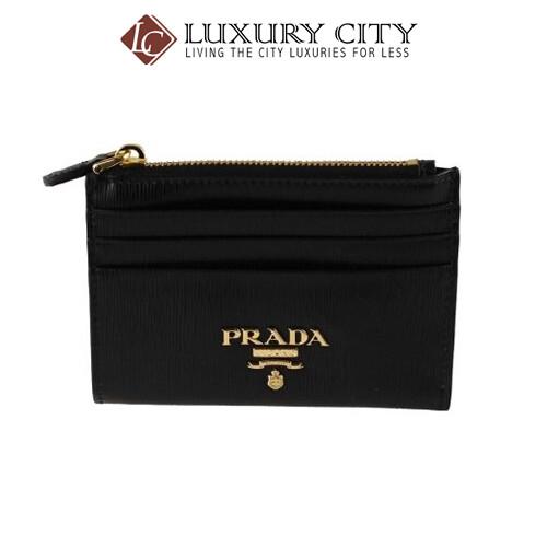 [Luxury City] Prada Women's Black Vitello Move Leather Card Case Mini Wallet Prada-1MC026