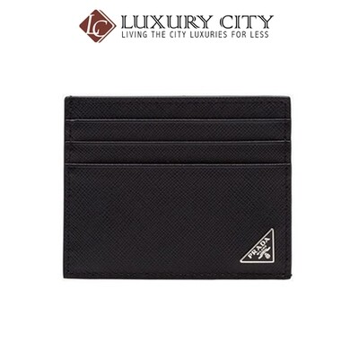 [Luxury City] Prada Saffiano Leather Card Case Wallet Black Prada-2MC223