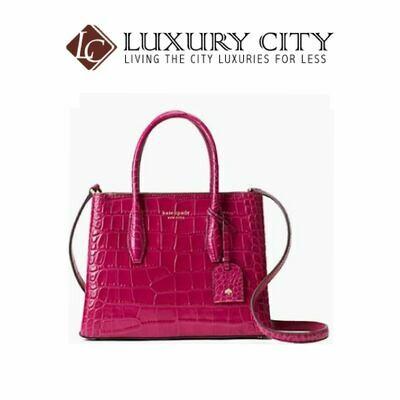 [Luxury City] Kade Spade Eva Croco Small Top Zip Satchel Pinkish-Red Katespade-WKRU6233