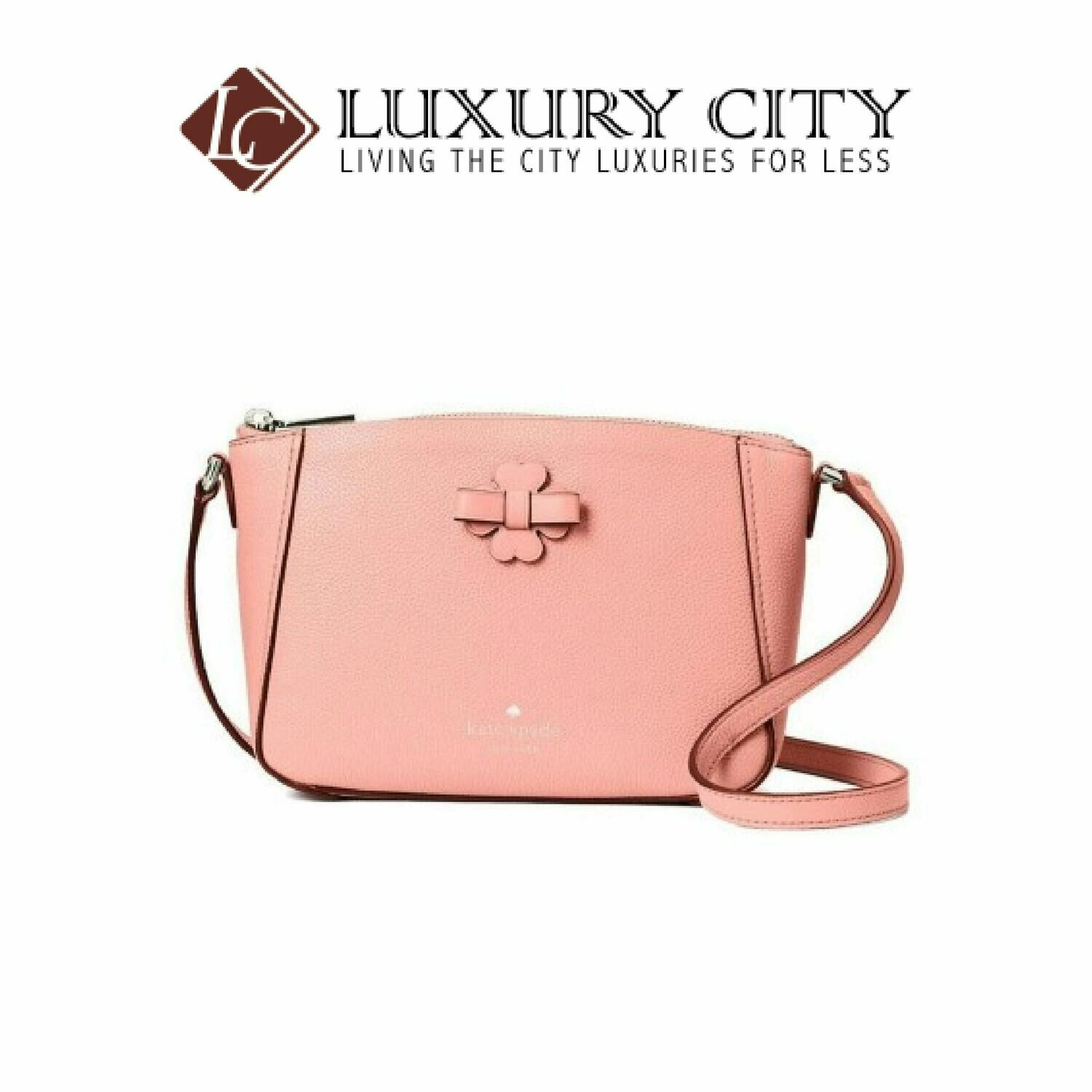 [Luxury City] Kate Spade Flower Ribbon Women's Light Pink Leather Shoulder Bag Katespade-WKRU6369
