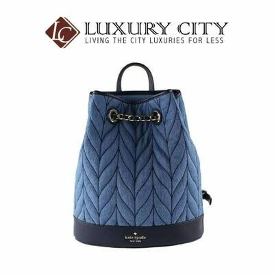 [Luxury City] Katespade New York Leather Briar Lane Quilted Denim Bucket Backpack Katespade-WKRU5828
