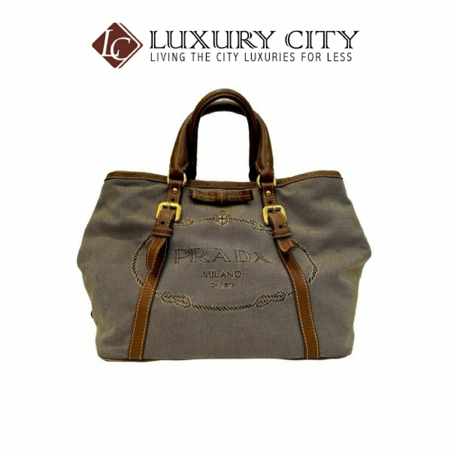 [Luxury City] Preloved Authentic Prada Bauletto Aperto Jacquard Corda Brandy