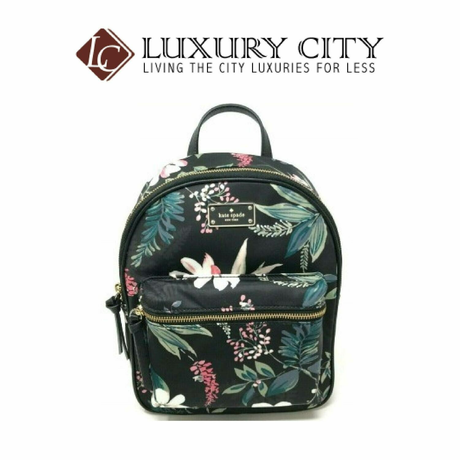 [Luxury City] Kate Spade Small Bradley Wilson Road Botanical Floral Backpack Katespade-WKRU5753 (Black)
