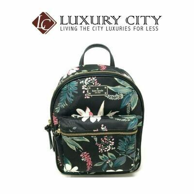[Luxury City] Kate Spade Small Bradley Wilson Road Botanical Floral Backpack Katespade-WKRU5753 (Black)